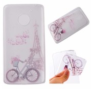 GSMWise Motorola Moto G5 - Zachte TPU Hoesje Back Case - Eiffel Tower and Bicycle Design - Transparant