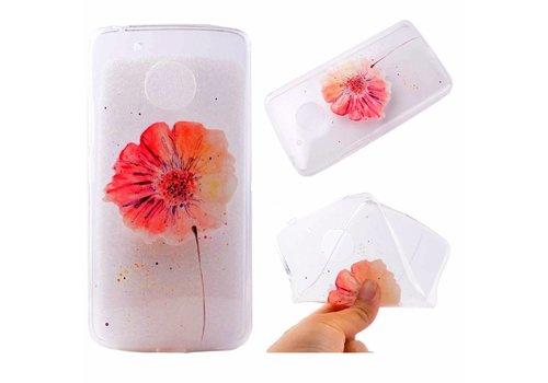 Motorola Moto G5 - Zachte TPU Hoesje Back Case - Vivid Flower Design - Transparant