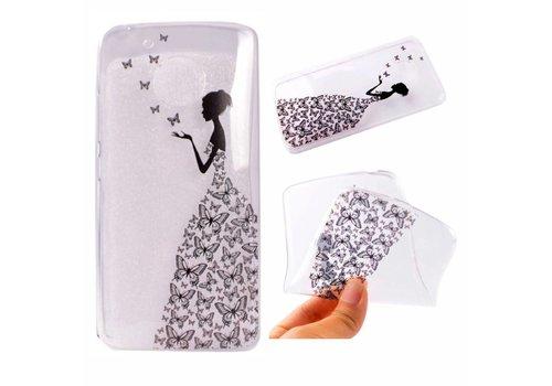 Motorola Moto G5 - Zachte TPU Hoesje Back Case - Butterfly Girl Design - Transparant
