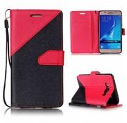 GSMWise Samsung Galaxy J5 (2016) - PU Lederen Portemonnee Case met Kaarthouder - Splicing Design - Rood
