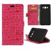 GSMWise Samsung Galaxy J5 (2016) - PU Lederen Portemonnee Case met Kaarthouder - Cartoon Design - Magenta Hot Pink