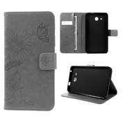 GSMWise Samsung Galaxy Tab A 7.0 Hoesje - Vlinder Design Tablet Cover met Portemonnee en Kaarthouder - Grijs