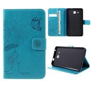 GSMWise Samsung Galaxy Tab A 7.0 Hoesje - Vlinder Design Tablet Cover met Portemonnee en Kaarthouder - Cyaan Turquoise