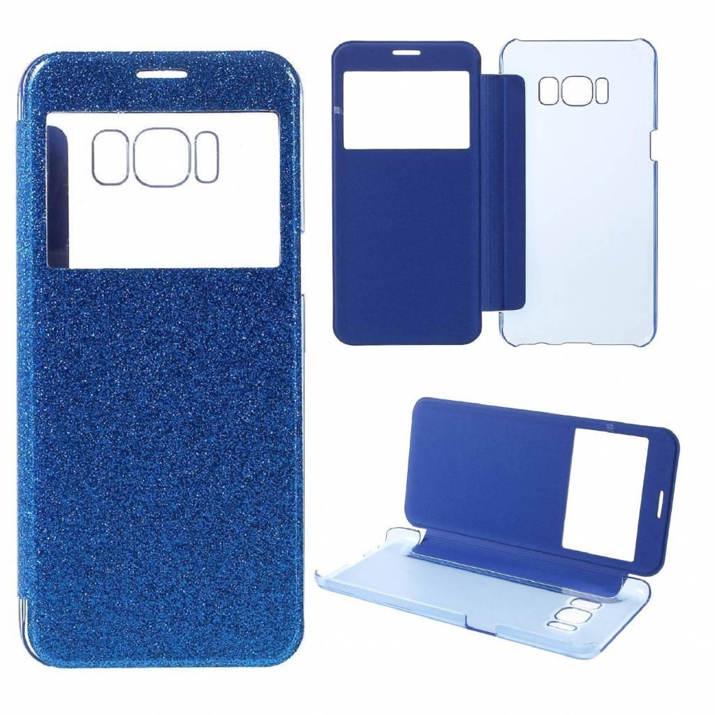 21733a54145 Samsung Galaxy S8 - Window View Flash kunstleren Flip Case Hoesje - Blauw