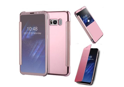 Samsung Galaxy S8 - Doorzichtige Window View Book Case - Rose Goud