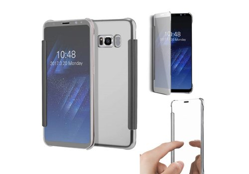 Samsung Galaxy S8 - Doorzichtige Window View Book Case - Zilver