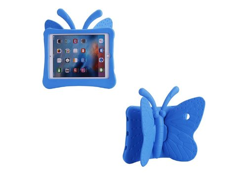 iPad Pro 9.7 / Air 2 / Air 1 - Kids Proof Cover Beschermd Tegen Krassen en Stoten - Vlinder Design - Blauw