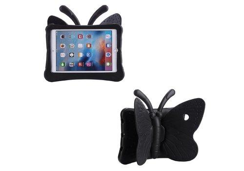 iPad Pro 9.7 / Air 2 / Air 1 - Kids Proof Cover Beschermd Tegen Krassen en Stoten - Vlinder Design - Zwart