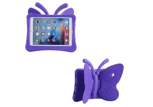 iPad Pro 9.7 / Air 2 / Air 1 - Kids Proof Cover Beschermd Tegen Krassen en Stoten - Vlinder Design - Paars