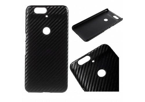 Huawei Nexus 6P Hoesje - Harde Back Snap Case - Carbon Fiber Design Zwart