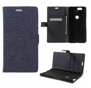 GSMWise Huawei Nexus 6P - Denim Design Linnen Textuur Lederen Portemonnee Hoesje met Kaarthouder - Zwart