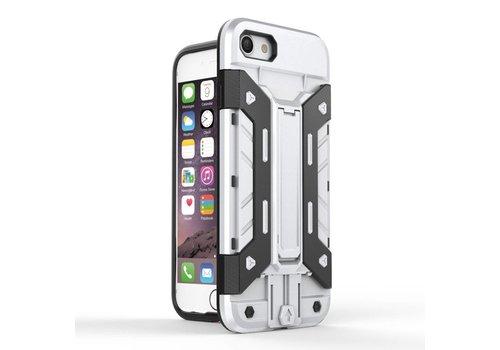 7417589ee21 Apple iPhone 7 / 8 - Stevig Backcover Hybride Beschermhoesje met  Kaarthouder en Stand - Zilver