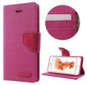 GSMWise Apple iPhone 7 / 8 - PU Lederen Canvas Doek met Kaarthouder - Roze