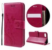 GSMWise Apple iPhone 7 / 8 - PU lederen Portemonnee Case met Kaarthouder - Vlinders Design - Roze