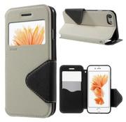 GSMWise Apple iPhone 7 / 8 - PU lederen Window View Case met Kaarthouder Grain - Wit