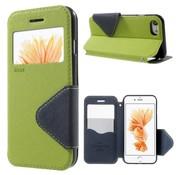 GSMWise Apple iPhone 7 / 8 - PU lederen Window View Case met Kaarthouder Grain - Groen