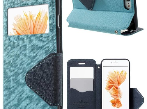 GSMWise Apple iPhone 7 / 8 - PU lederen Window View Case met Kaarthouder Grain - Licht Blauw