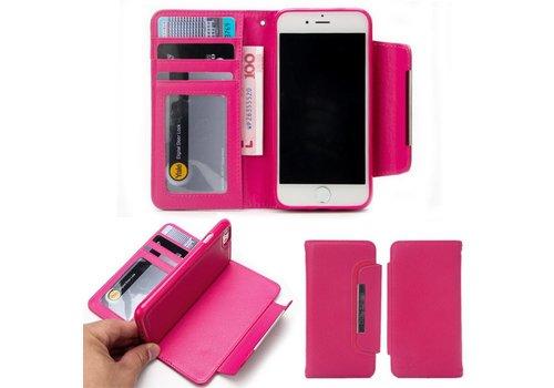 Apple iPhone 7 / 8 - Lychee PU Lederen Portemonnee Case met Kaarthouder en Afneembaar Back Case - Roze
