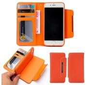 GSMWise Apple iPhone 7 / 8 - Lychee PU Lederen Portemonnee Case met Kaarthouder en Afneembaar Back Case - Oranje