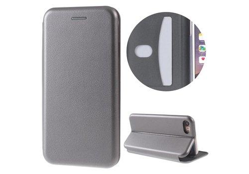 Apple iPhone 7 / 8 - PU Lederen Shell Cover met Kaarthouder - Grijs