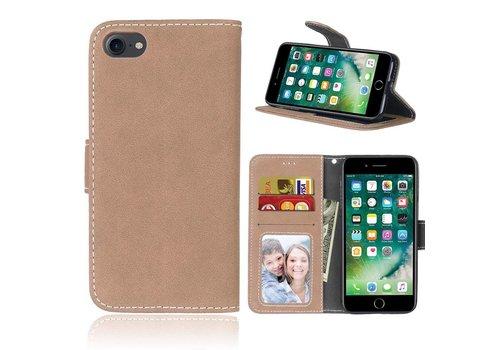 Apple iPhone 7 / 8 - PU Lederen Retro style Portemonnee Hoesje - Khaki