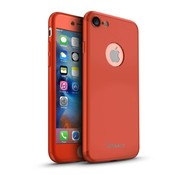 GSMWise Apple iPhone 7 - PC Mat Back Cover Met Screen Protector - Rood