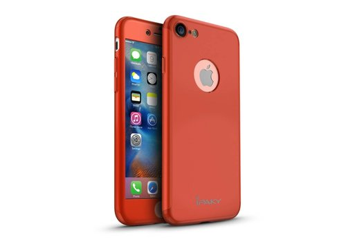 Apple iPhone 7 - PC Mat Back Cover Met Screen Protector - Rood