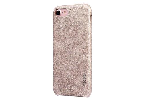 Apple iPhone 7 / 8 - Vintage PU Lederen Back Case - Goud