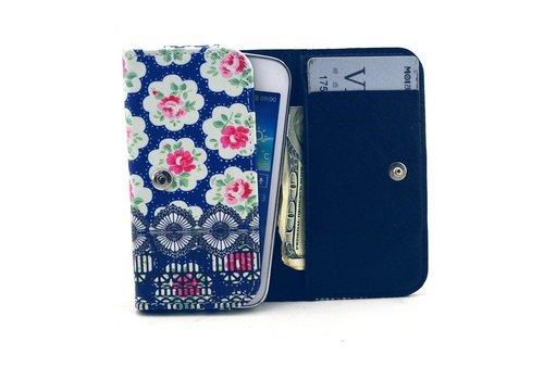 Apple iPhone 6 / 7 / 8 en Samsung Galaxy S6 / S7 / S8 - Universele PU Lederen Portemonnee Hoesje - Rozen Design - Donker Blauw