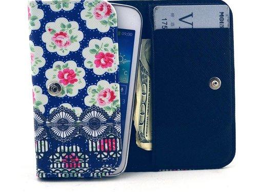 GSMWise Apple iPhone 6 / 7 / 8 en Samsung Galaxy S6 / S7 / S8 - Universele PU Lederen Portemonnee Hoesje - Rozen Design - Donker Blauw