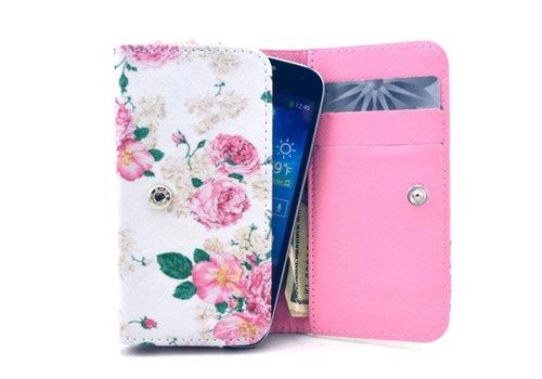Apple iPhone 6 / 7 / 8 en Samsung Galaxy S6 / S7 / S8 - Universele PU Lederen Portemonnee Hoesje - Bloemen Design - Wit / Roze