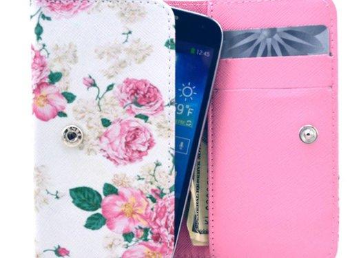 GSMWise Apple iPhone 6 / 7 / 8 en Samsung Galaxy S6 / S7 / S8 - Universele PU Lederen Portemonnee Hoesje - Bloemen Design - Wit / Roze