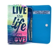 GSMWise Apple iPhone 6 / 7 / 8 en Samsung Galaxy S6 / S7 / S8 - Universele PU Lederen Portemonnee Hoesje - Live Your Design - Rood / Blauw