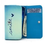 GSMWise Apple iPhone 6 / 7 / 8 en Samsung Galaxy S6 / S7 / S8 - Universele PU Lederen Portemonnee Hoesje - Smile Design - Licht Blauw / Blauw