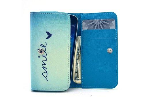 Apple iPhone 6 / 7 / 8 en Samsung Galaxy S6 / S7 / S8 - Universele PU Lederen Portemonnee Hoesje - Smile Design - Licht Blauw / Blauw