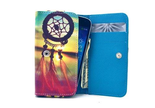 Apple iPhone 6 / 7 / 8 en Samsung Galaxy S6 / S7 / S8 - Universele PU Lederen Portemonnee Hoesje - Dream Catcher Design -Blauw