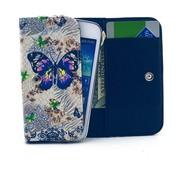 GSMWise Apple iPhone 6 / 7 / 8 en Samsung Galaxy S6 / S7 / S8 - Universele PU Lederen Portemonnee Hoesje - Vlinder Design - Wit / Blauw