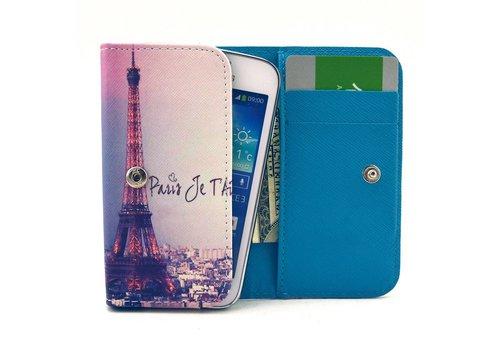 Apple iPhone 6 / 7 / 8 en Samsung Galaxy S6 / S7 / S8 - Universele PU Lederen Portemonnee Hoesje - Eiffel Tower Design - Wit / Blauw