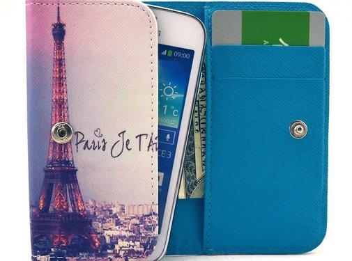 GSMWise Apple iPhone 6 / 7 / 8 en Samsung Galaxy S6 / S7 / S8 - Universele PU Lederen Portemonnee Hoesje - Eiffel Tower Design - Wit / Blauw