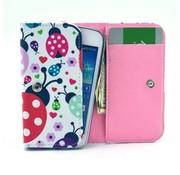 GSMWise Apple iPhone 6 / 7 / 8 en Samsung Galaxy S6 / S7 / S8 - Universele PU Lederen Portemonnee Hoesje - Lieveheersbeestje Design - Wit / Roze