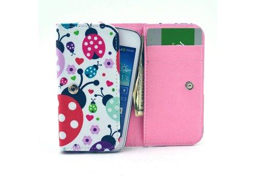 Apple iPhone 6 / 7 / 8 en Samsung Galaxy S6 / S7 / S8 - Universele PU Lederen Portemonnee Hoesje - Lieveheersbeestje Design - Wit / Roze
