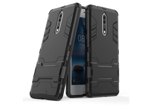 Nokia 8 - Stevig Backcover Hybride Beschermhoesje met Stand - Zwart