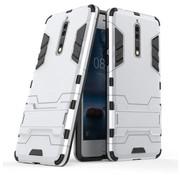 GSMWise Nokia 8 - Stevig Backcover Hybride Beschermhoesje met Stand - Zilver