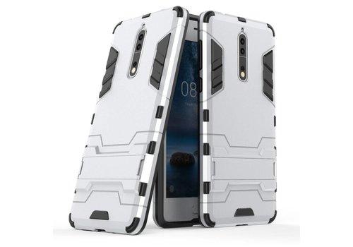 Nokia 8 - Stevig Backcover Hybride Beschermhoesje met Stand - Zilver