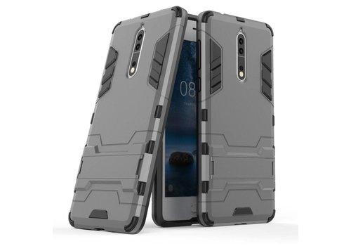 Nokia 8 - Stevig Backcover Hybride Beschermhoesje met Stand - Grijs