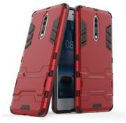 GSMWise Nokia 8 - Stevig Backcover Hybride Beschermhoesje met Stand - Rood
