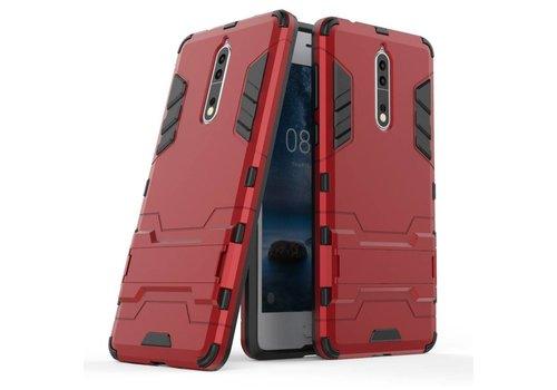 Nokia 8 - Stevig Backcover Hybride Beschermhoesje met Stand - Rood