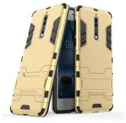 GSMWise Nokia 8 - Stevig Backcover Hybride Beschermhoesje met Stand - Goud