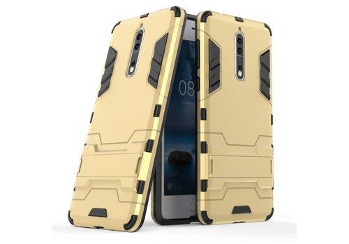 Nokia 8 - Stevig Backcover Hybride Beschermhoesje met Stand - Goud