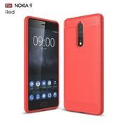 GSMWise Nokia 8 - Geborsteld Hard Back Cover Carbon Fiber Design - Rood